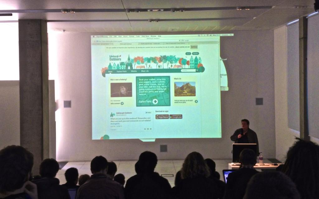 Sally Kerr presenting the Edinburgh Outdoors Website