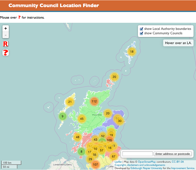 Community Council Location Finder Screenshot